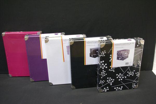 2 er set aufbewahrungsboxen boxen aufbewahrung box mit deckel 35x28x16 cm pappe ebay. Black Bedroom Furniture Sets. Home Design Ideas
